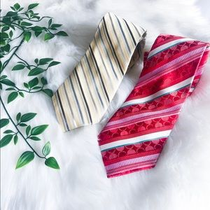 Men's Tie Bundle - Calvin Klein Red and Gold